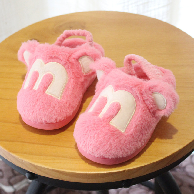 Cute Cartoon Children Slippers Boys Girls Cotton Shoes 2016 Winter Super Soft Warm Baby Slippers Elastic Band Kids Home Shoes