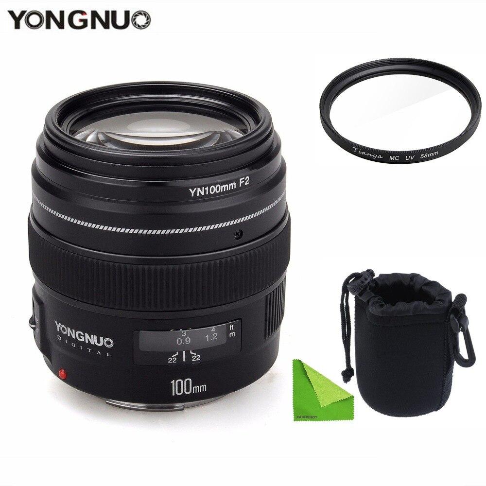 YONGNUO YN100mm F2 moyen téléobjectif objectif principal objectif de mise au point automatique à grande ouverture pour Canon EOS rebelle caméra AF MF avec étui