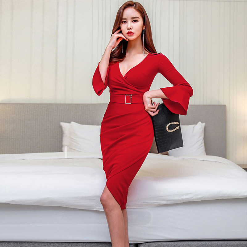 Fashion women work style fresh simple cute OL pencil dress new arrival comfortable sexy trend temperament red party formal dress