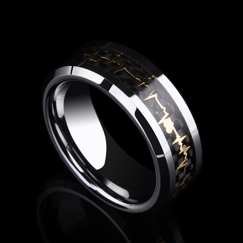 New Fashion 8mm Width Tungsten Engagement Rings for Man Inlay Black Carbon Fiber and Yellow Gold Color Heart Beat Size 6 12