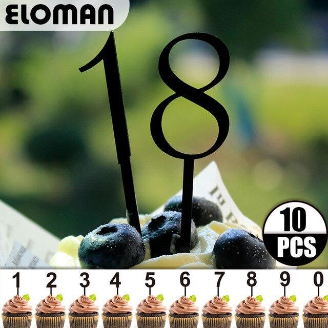 10 unids/lote 0-9 acrílico negro número cupcake topper para la boda y la decoración de fiesta de cumpleaños edad torta topper