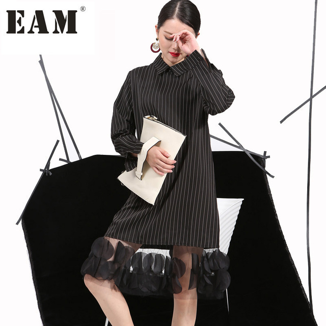 [EAM] 2018 Autumn Ladie Vertical Stripes Lapel Three-Dimensional Dress Stitching Yarn Women New Apparel Wholesale 4L0051