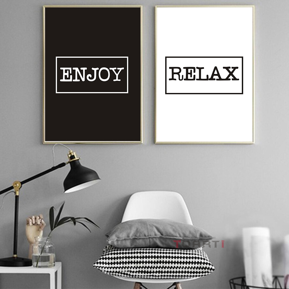 Modern Lighting Quotes Us 1 34 21 Off Monochrome Modern Quotes Enjoy Relax Canvas Art Painting Poster And Print Balck White Wall Pictures For Living Room Home Decora In