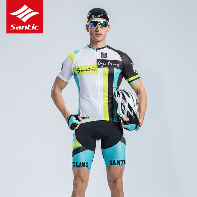 SANTIC 2019 New Summer Cycling  Short Sleeve Cycling Set Mountain Bike Clothing Breathable Bicycle Jerseys Clothes men Top + Bib