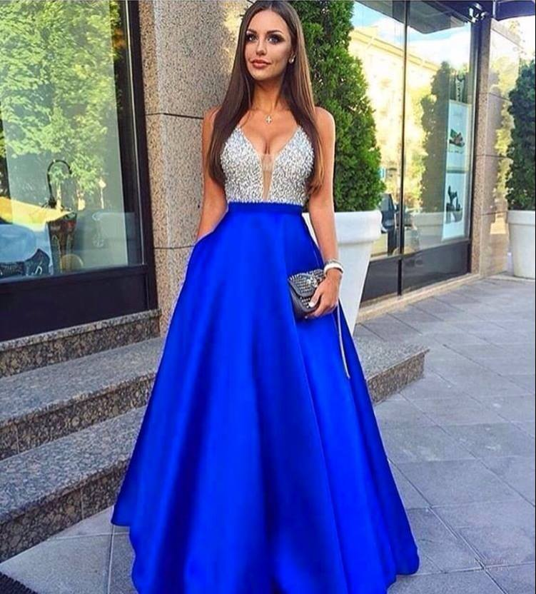 Crystal Beaded Royal Blue Sexy Long   Prom     Dresses   2017 Deep V Neck Plunging Back Floor Length Sleeveless Party Evening   Dresses