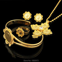 Newest Ethiopian 5pcs Coin Cross Wedding Jewelry Sets 22K Gold Plated Rhinestone Bridal Romantic Habesha Jewelry