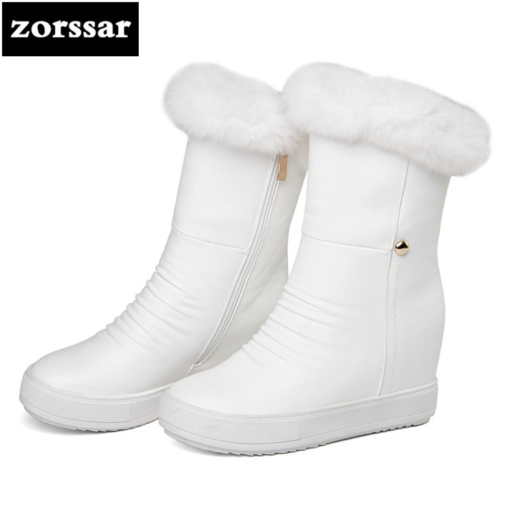 {Zorssar} Winter fur Women Boots High heels pu leather ankle Snow Boots Female Warm Plush Insole shoes High Quality Botas Mujer zorssar 2019 women s shoes winter plush women snow boots cow suede leather flat ankle boots female warm fur insole botas mujer