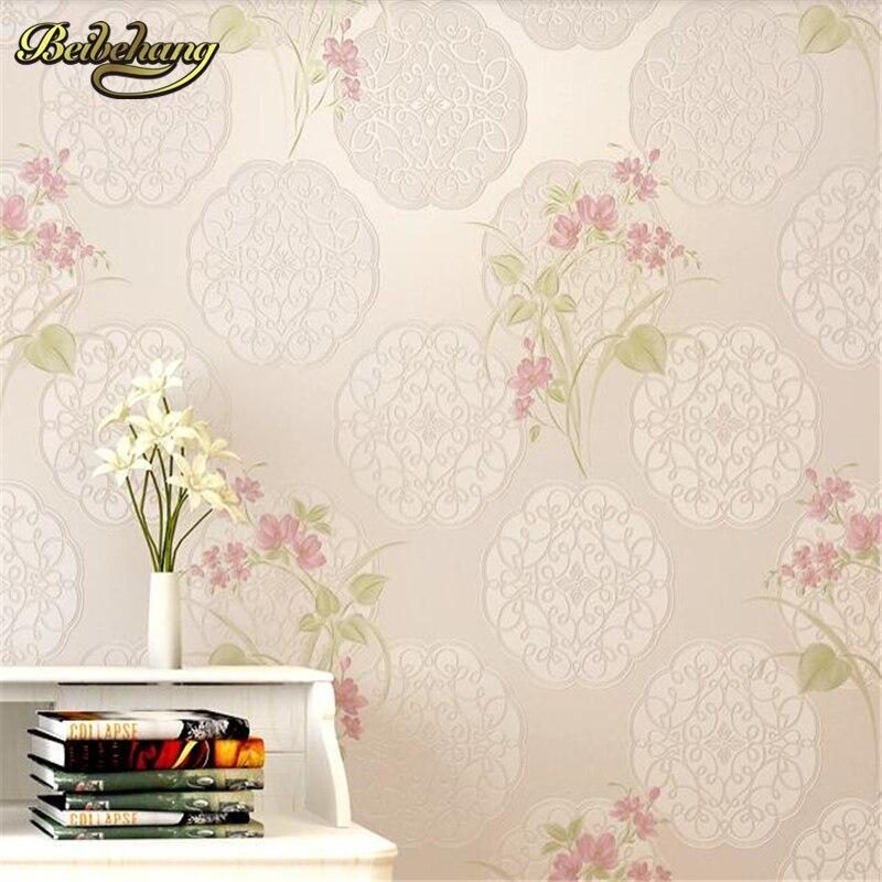 beibehang papel de parede pastorale slaapkamer warm niet geweven eenvoudige behang woonkamer tv achtergrond vol winkels muur papier