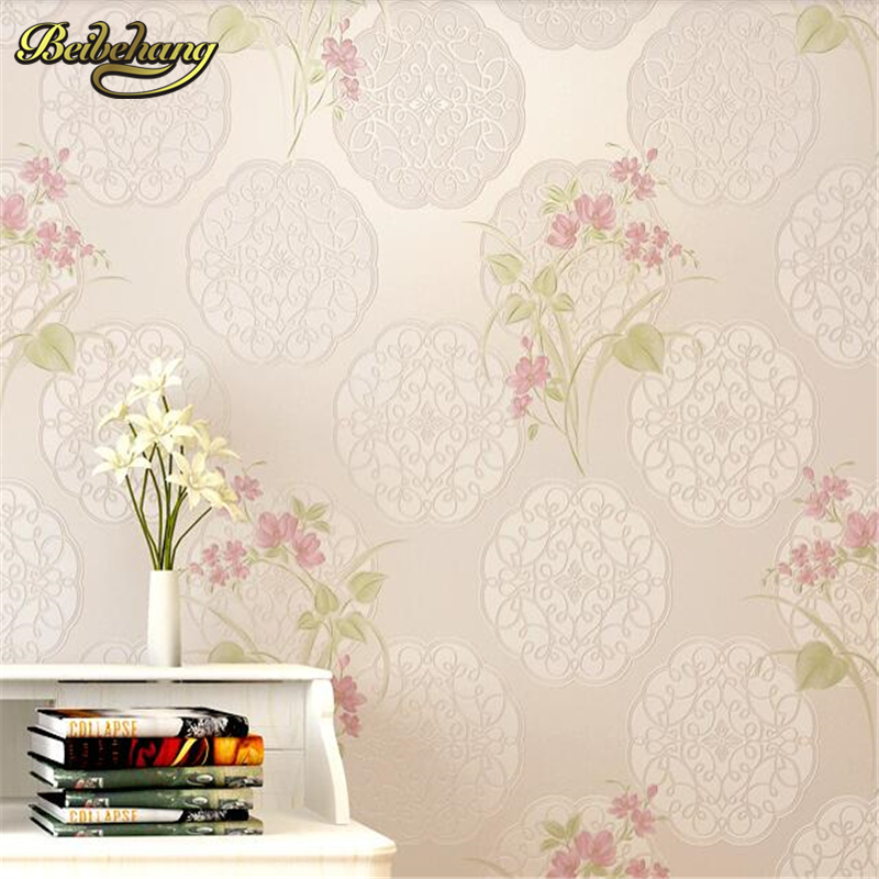 ФОТО beibehang papel de parede Pastoral bedroom warm non - woven simple wallpaper living room TV backdrop full of shops wall paper
