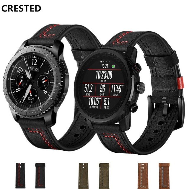 CRESTED leather strap For Samsung Galaxy watch 46mm /Gear S3 frontier classic 22
