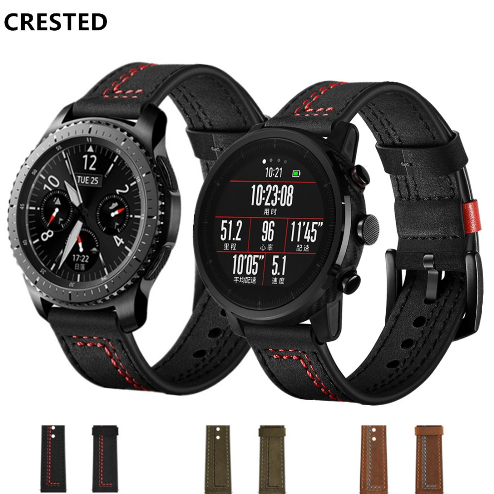 Leather Gear S3 Frontier Strap For Samsung Galaxy Watch 46mm 22mm Watch Band  Correa Amazfit Gtr 47mm 47 Huawei Watch Gt Strap