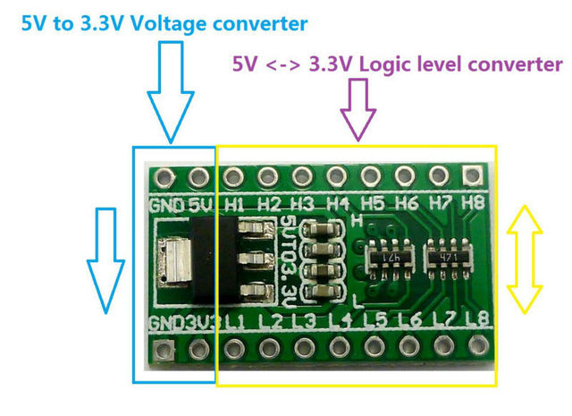 8CH IIC I2C Logic Level Converter Bi-Directional Module & DC-DC 5V to 3.3V Setp-dowm Buck AMS1117 Board For_Arduino Breadboard