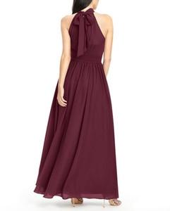 Image 3 - Robe Demoiselle Dhonneur Burgundy Bridesmaid Dresses 2020 Long Chiffon Dress for Wedding Party Women Wedding Guest Dress