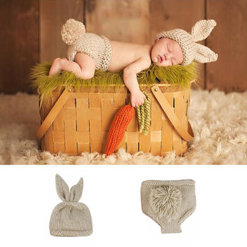 newborn photography props Rabbit crochet baby clothes boy accessories girl boys clothing  infant costume crotheted outfit 1set newborn police design photography props infant toddler costume outfit crochet