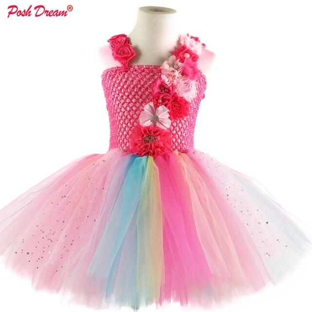 POSH DREMA Easter Flower Girls Wedding Party Tutu Dresses Knee Length Sparkly Tulle Handmade Flower Children Birthday Clothes