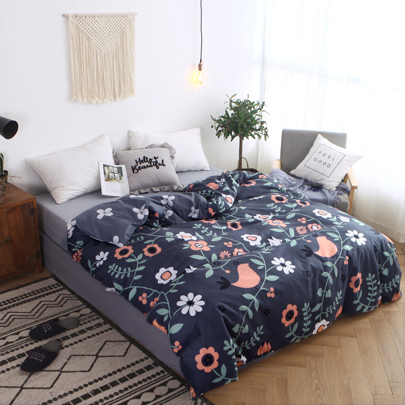 New Spring Floral Birds Duvet Cover With Zipper Cotton