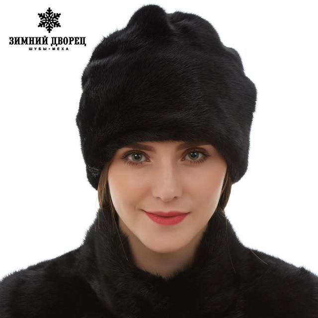 842c328f49f Genuine Leather Women Casual Mink fur hat Floral Decoration mink fur hat  womens Fashion winter hats for women fur hat