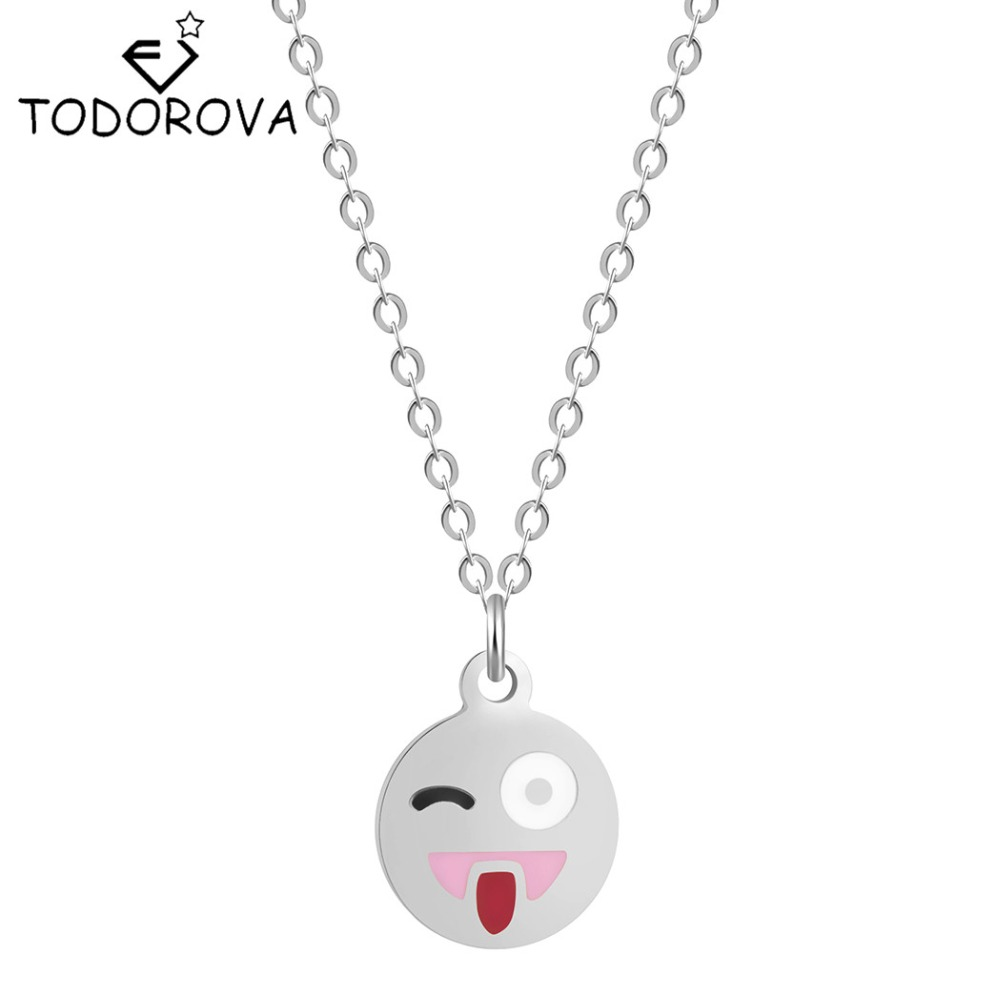 Todorova 10pcs Cute Smiling Face Cartoon Emoji Expression Necklaces Fashion Pendant Necklace Women Choker Link Chain Jewelry