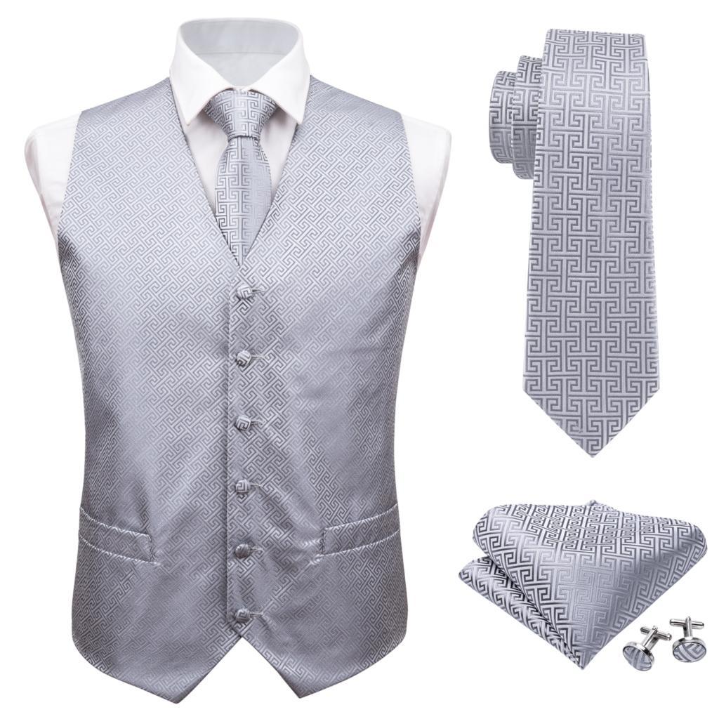 Barry. Wang Дизайнерские мужские модные серебряные цветочные жаккардовые Тканые 100% шелк жилет жилеты платок галстук жилет костюм запонки набор