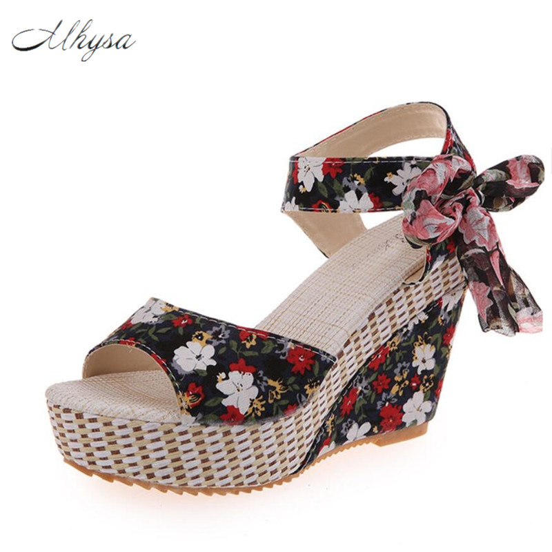 Mhysa 2018 Shoes Women Summer New Sweet Flowers Buckle Open Toe Wedge Sandals Floral high-heeled Shoes Platform Sandals S305 vtota new summer sandals women shoes woman platform wedge sweet flowers buckle open toe sandals floral high heeled shoes q75