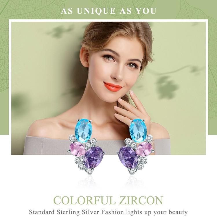 HTB1dWOMN4naK1RjSZFBq6AW7VXar BAMOER Classic 100% 925 Sterling Silver Colorful Zircon Geometric Earrings Simple Stud Earrings for Women Silver Jewelry SCE579
