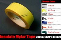 1 Rolls 20mm 66M 0 06mm High Temperature Resistance Insulating Anti Flame Adhesive Mylar Tape For