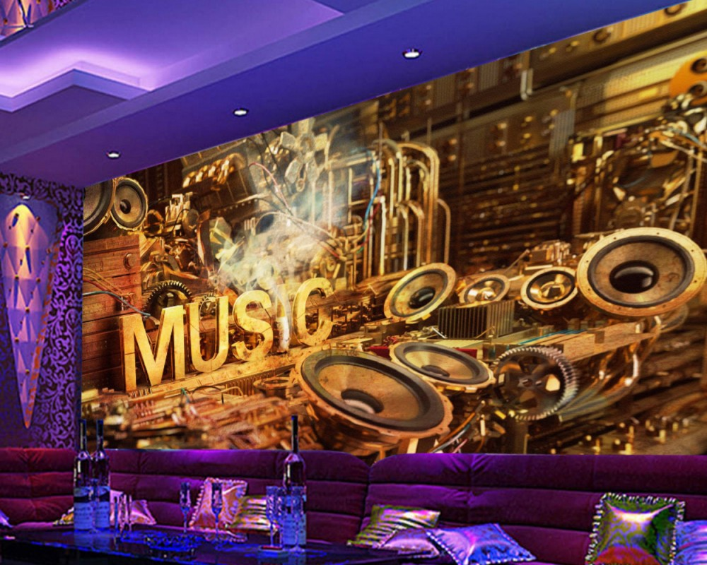 цены Free Shipping Wallpaper Cool Retro Music Sound Carnival KTV Wall KTV Wallpaper Bar Mural Music Restaurant Custom 3D Wallpaper