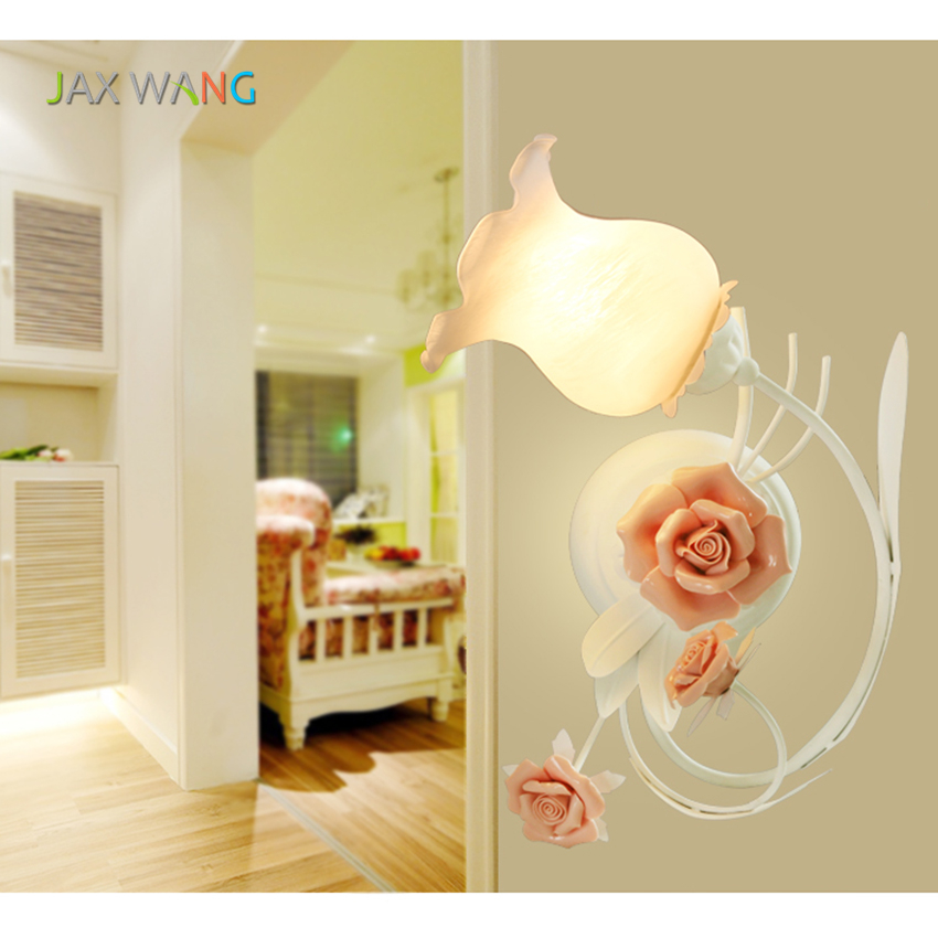 European-style Petals LED Wall Lamp Flower Wall Sconce Bedroom Wall Light Frosted Glass Interior Wall Lamps for Kid's Room Lamps