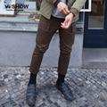 Calças Calças da Carga Dos Homens Mens Roupas VIISHOW Homens Armygreen Longa Reta Plana Full Length Pants KC33263
