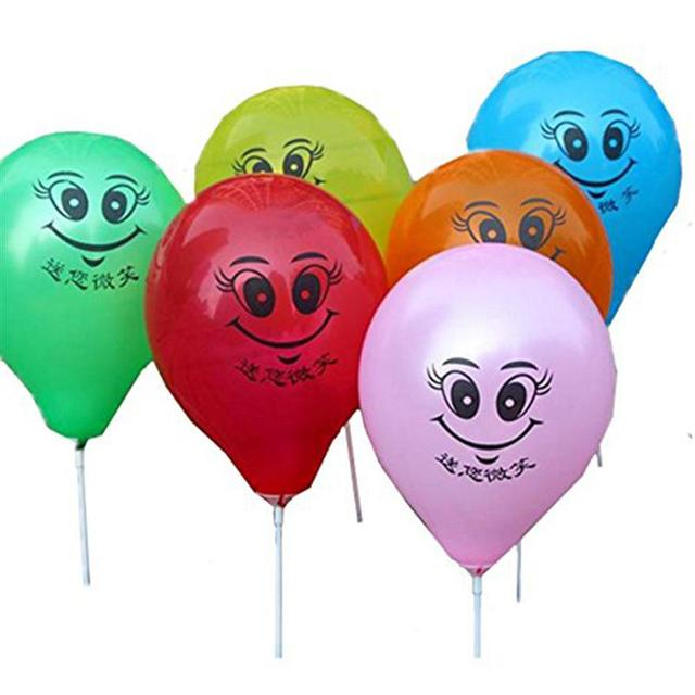 100pcs Smiley Face Balloon Bright Color Latex Balloons Kids Happy ...