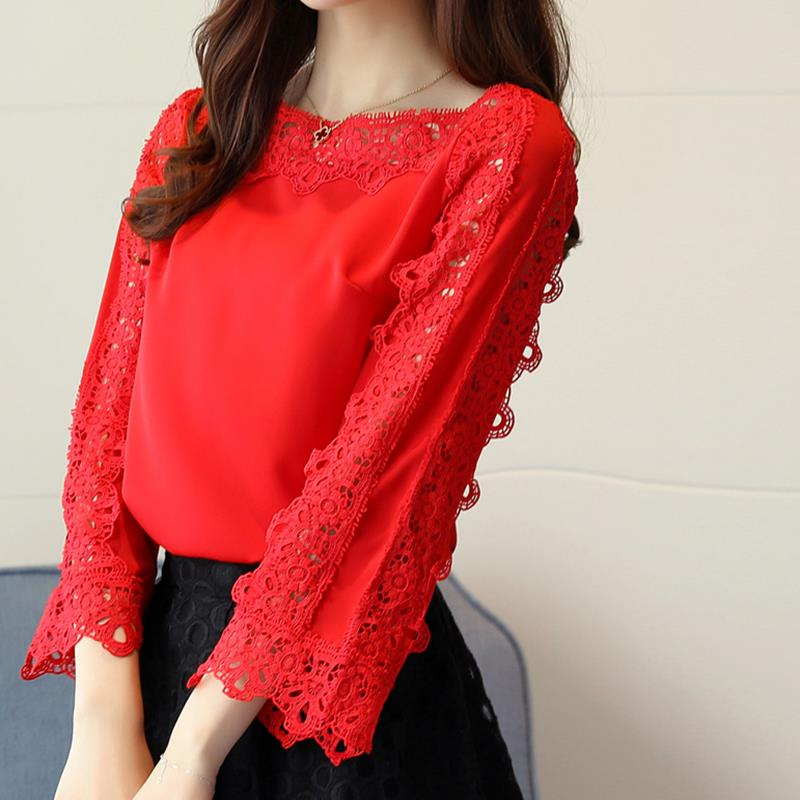 Women Elegant Chiffon   Blouse     Shirt   Tops New Spring Red Lace Floral   Blouse   Spring Summer Flare Sleeves Office Tops White WS6564O