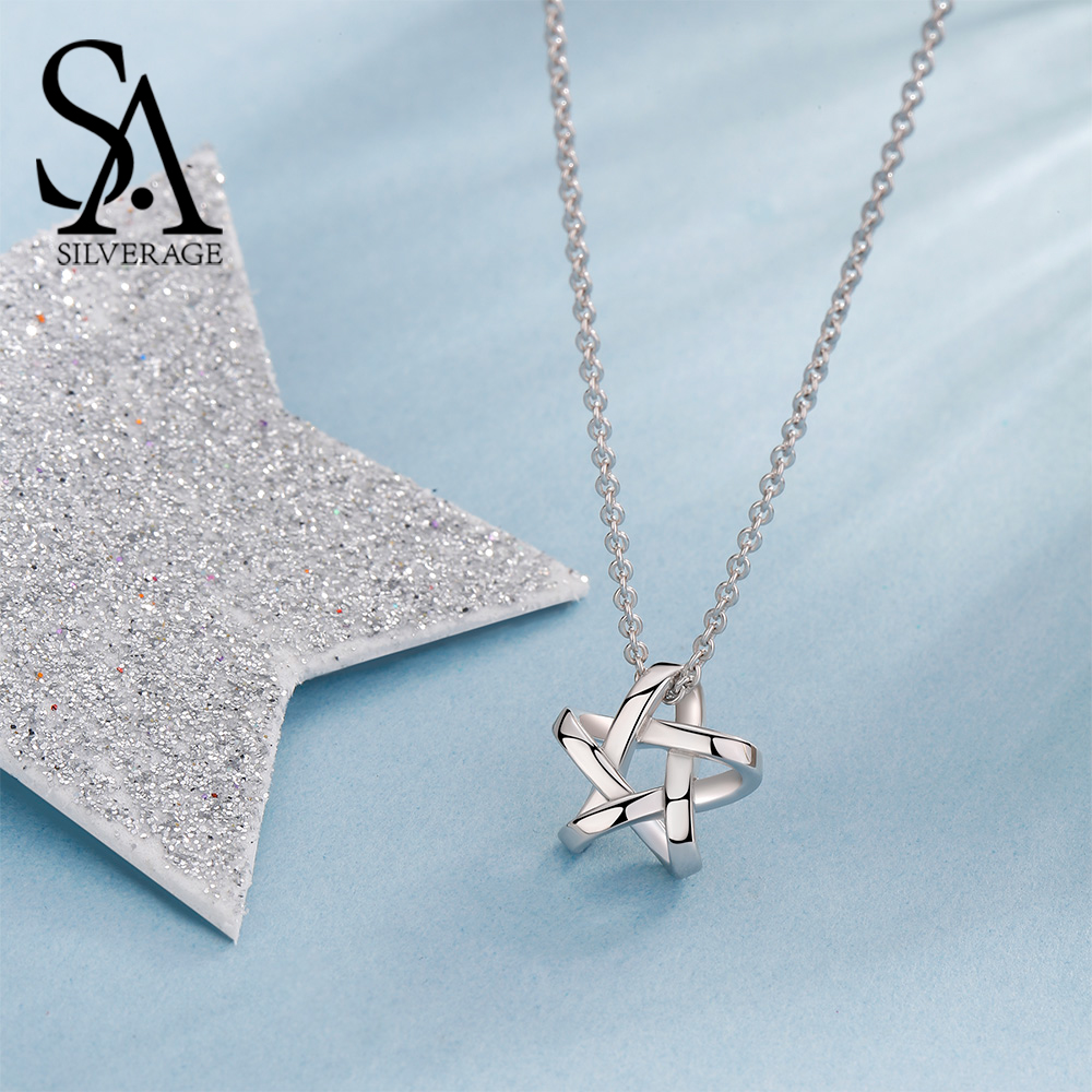 Pendants Pendant Jewelry Long Necklaces Women 925 Sterling SILVERAGE Chain SA Maxi Fine Star Necklace Chokers Silver 2