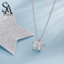 SILVERAGE 925 Sterling Silver Jewelry For Women Weaved Star Pendant Chain Necklace Mother's Day Free Shipping