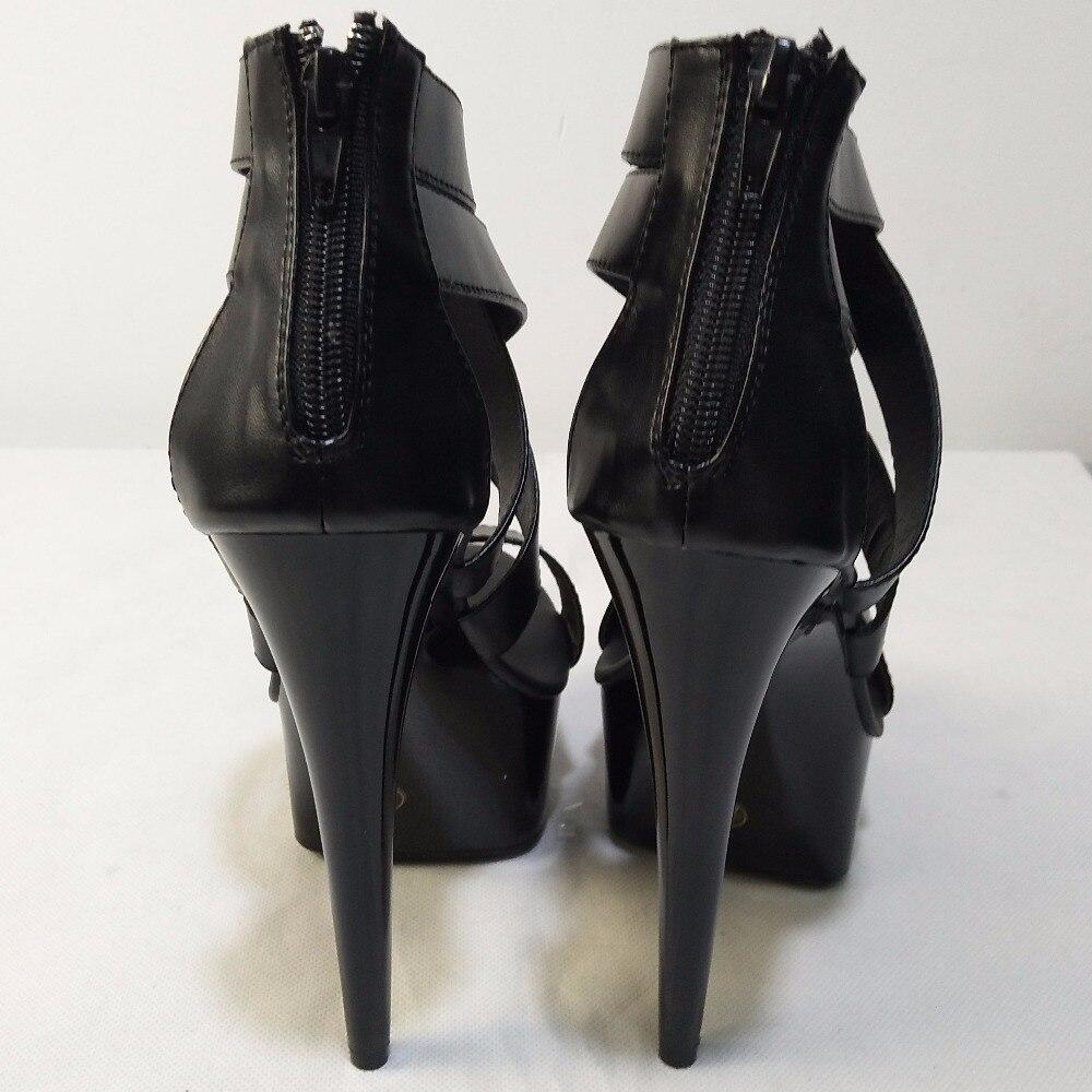 Plus ขนาดใหญ่ Cutout รองเท้า 15cm ส้นสูง 6 นิ้วแฟชั่นรองเท้าแตะ Queen Punk Gladiator เซ็กซี่รองเท้า-ใน รองเท้าส้นสูง จาก รองเท้า บน   2