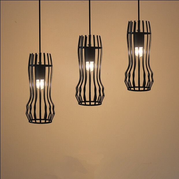 ФОТО Vintage retro pendant lights LED lamp  metal cube cage lampshade lighting hanging light fixture with LED G80 bulb