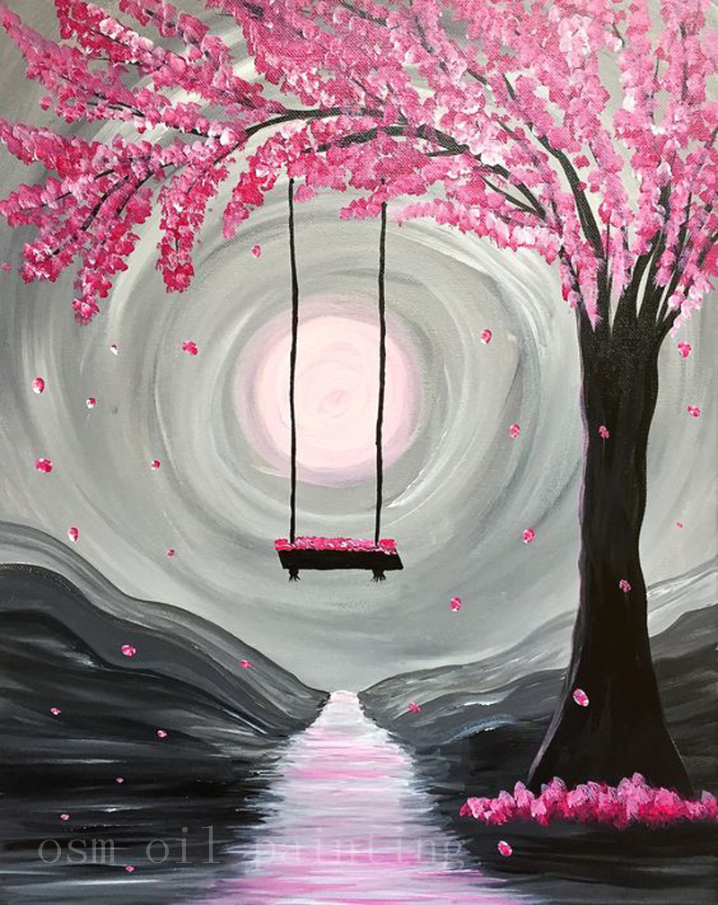 Handpainting abstract paint nite whimsical spring blossom canvas picture handmade wall art swing in pink tree knife oil painting in painting calligraphy