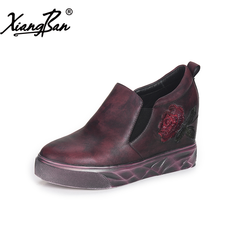 Fashion women leather shoes casual handmade embroidery flowers high heel thick with ladies pumps round toe