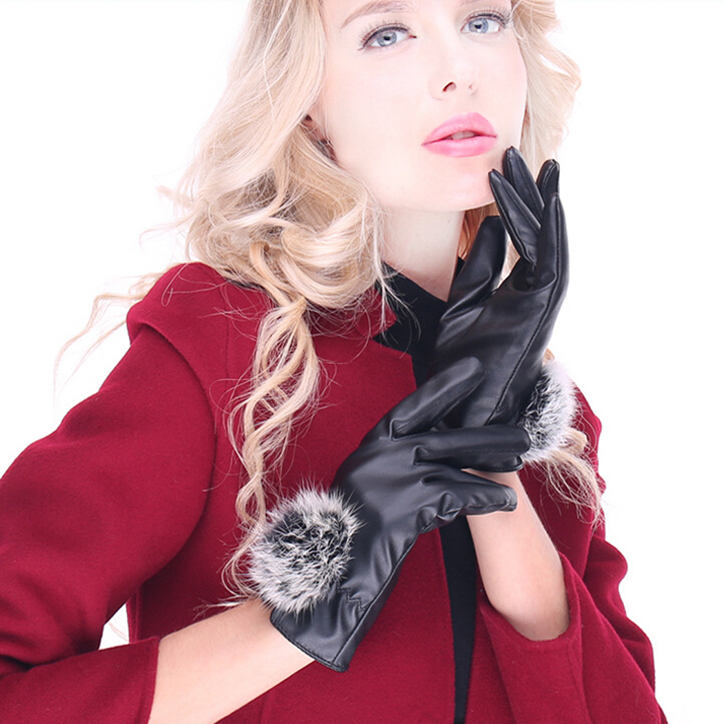 Womens Warm Gloves Soft Lining Hairball Artificial Leather Fake Fur Touch Screen Gloves Outdoor Gloves for Girls Ladies Mittens