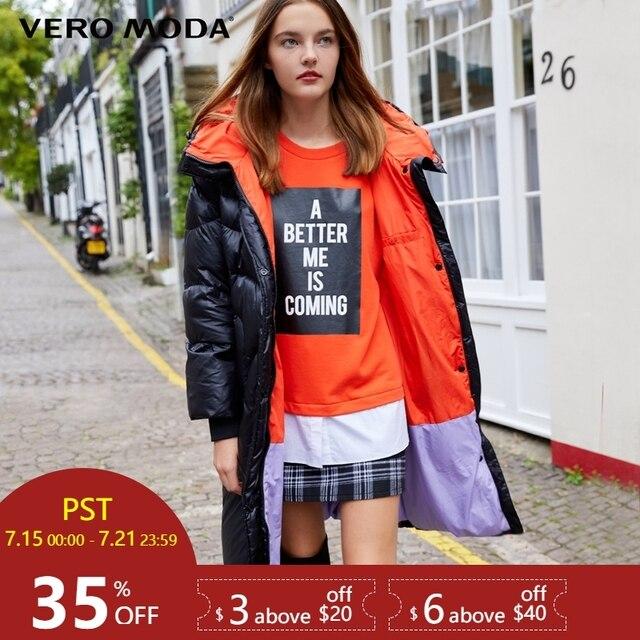 Vero Moda 2019 חדש ברדס לבן ברווז למטה מרופד ארוך למטה מעיל נשים | 318412512
