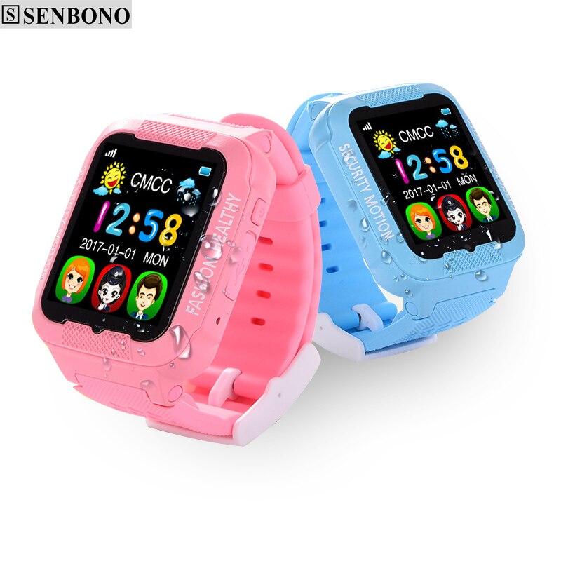 imágenes para SENBONO Kids reloj niños reloj GPS LBS AGPS bluetooth K3 inteligente Usable dispositivos SIM soporte de tarjeta TF cámara de intercomunicación de Voz