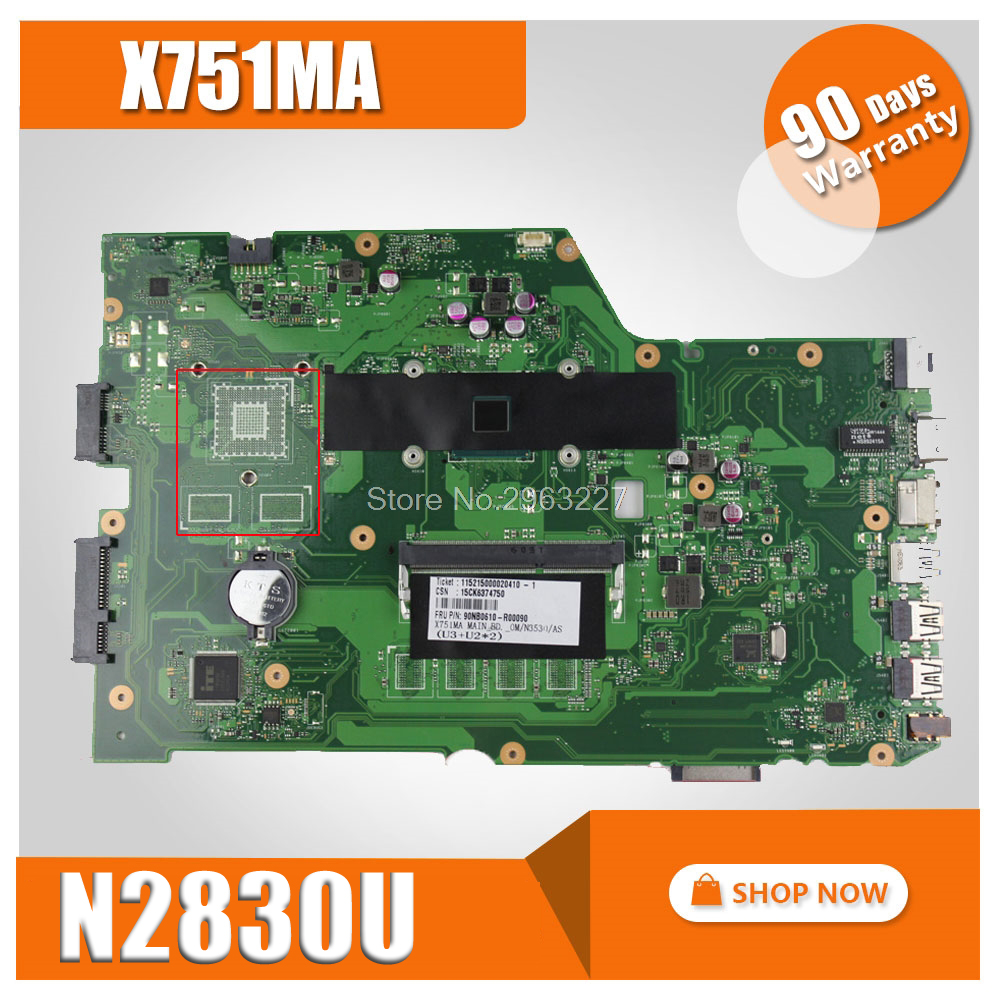 Original for ASUS X751MA motherboard X751MD REV2.0 Mainboard Processor N2830 integrated without GPU fully 100% tested for asus x555la motherboard x555ld rev2 0 3 1 3 3 3 6 mainboard with i3 cpu integrated without gpu mainboard 100% tested