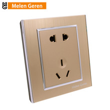 Wall Power Socket Multifunction 5 Hole Outlet Luxury Aluminum Alloy Champagne Gold Electrical Panel 10A 220V 86mm*86mm