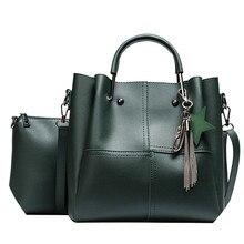 Women 2pcs/set Handbags Female Tote Bag Tassel Women Solid Shoulder Bags mini Cross body bolsos mujer de marca famosa #75 цена в Москве и Питере