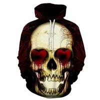 Novo 2018 Moda Dos Homens/Mulheres 3d Hoodies Impressão Crânios De Metal vermelho Com Capuz amor olhos Hoodies homem Fino 3d Moletons Com Capuz Tops de hip hop