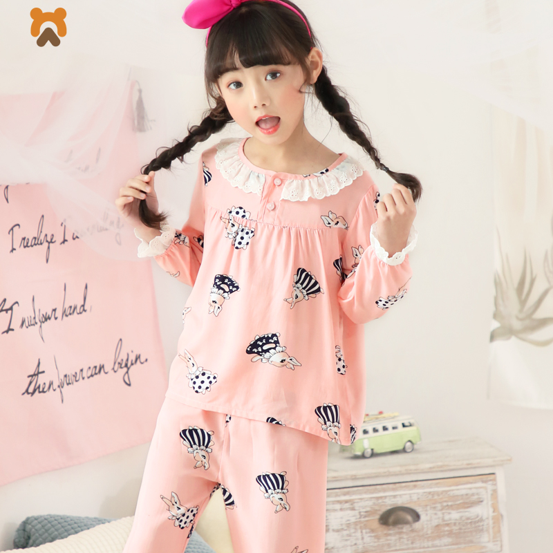 Summer Girls Pajamas Sets Cartoon Long Sleeve Animal Children Pajamas Tops Bottoms 2 Pcs Pyjamas Sleepwear Clothing For Girl Kid lovely spring pure cotton thomas and friends children clothing long sleeve tops pants for 2 7 years boy kids pajamas sleepwear