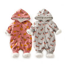2016 Top Baby cartoon fleece snowsuit with hat new child child lady boy garments cotton snowsuit for boys winter coats and jackets
