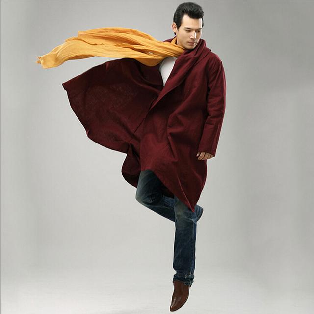 El más fresco de tendencia étnica moda rompevientos impermeable mianyiwaitao larga chaqueta de la capa