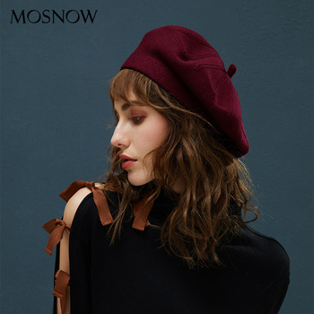 Winter Berets For Women Vintage Wool Knitted Hats Female Plain British Style Beanie Lady Painter Bonnet Hats Girl Red Berets Hat siloqin elegant women s 100% wool berets hats for women simple solid fashion lady s brands painter cap female winter warm hat