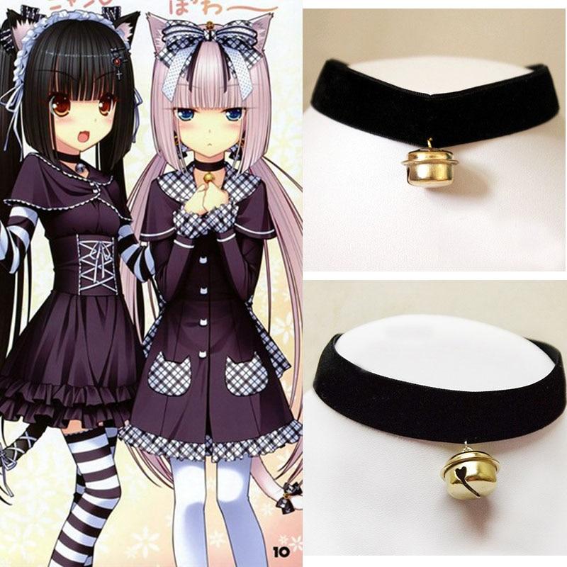 Cos Cosplay Gothic Maid Harajuku Handmade Velvet Soft Gold Bell Cat Meow Retro Punk Collar Choker Necklace