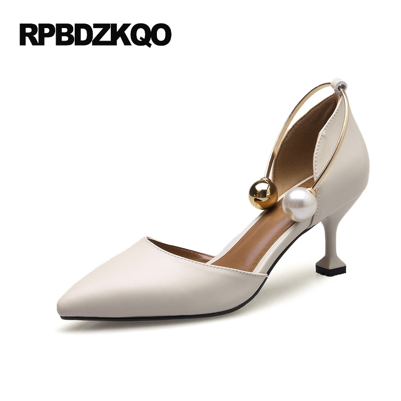 Ladies 4 34 Small Size Kitten 5cm 2 Inch Ivory Shoes Wedding High Heels Pearl Strange Big 33 Pointed Toe 9 40 Off White D'orsay 10 42 33 pointed toe kitten lilac pumps low plus size shoes snakeskin snake high heels 2017 ladies 4 34 small 12 44 walking